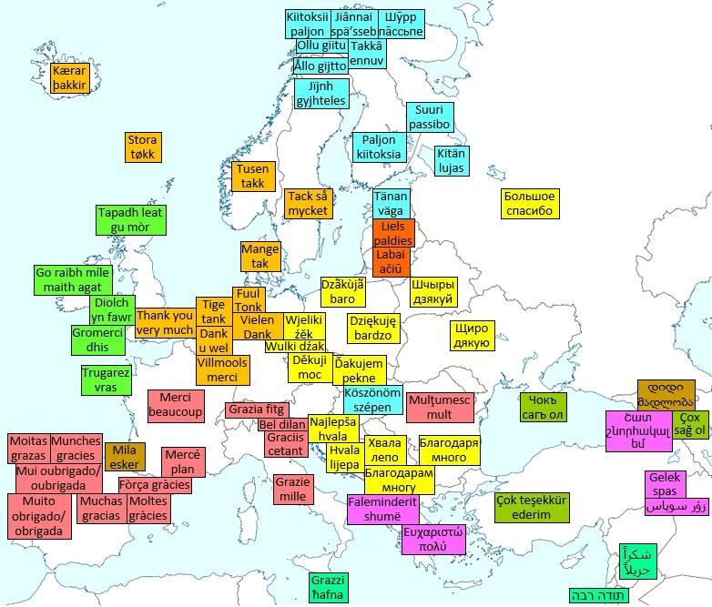 Köszönöm szépen, Európa nyelvein
