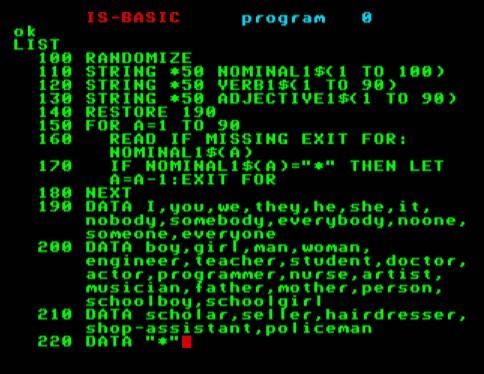 Számítógépes mondatalkotás - részlet a programból
