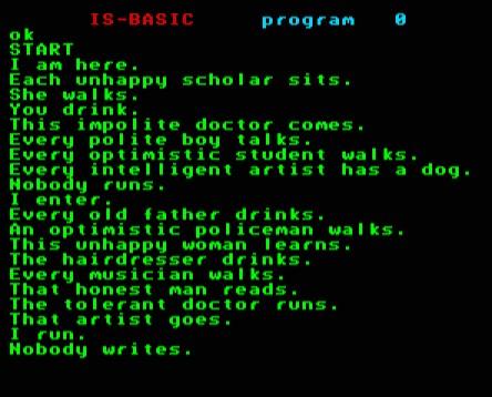 Számítógépes mondatalkotás - a program müködés közben