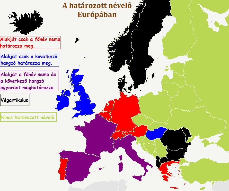Határozott névelő Európa nyelveiben
